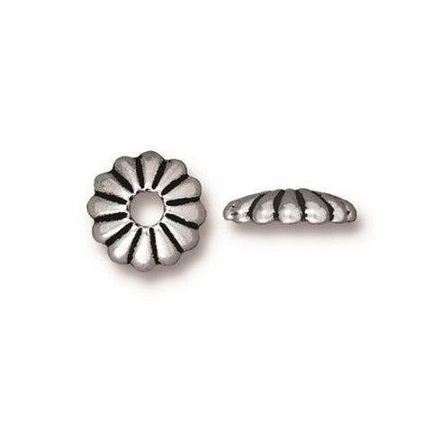 Joy 10mm Large Hole Bead Caps - Qty 6 - TierraCast Silver Plated Lead Free Pewter