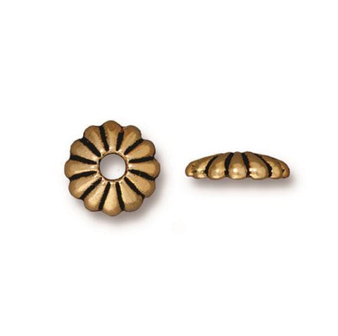 Joy 10mm Large Hole Bead Caps - Qty 6 - TierraCast 22kt Gold Plated Lead Free Pewter