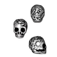 Rose Skull Large Horizontal Hole Beads - Qty 5 - TierraCast Silver Plated Lead Free Pewter