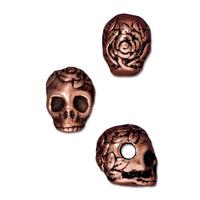 Rose Skull Large Horizontal Hole Beads - Qty 5 - TierraCast Copper Plated Lead Free Pewter