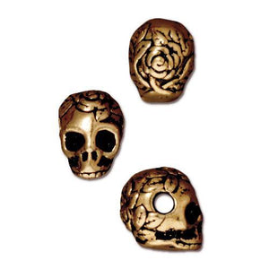 Rose Skull Large Horizontal Hole Beads - Qty 5 - TierraCast 22kt Gold Plated Lead Free Pewter