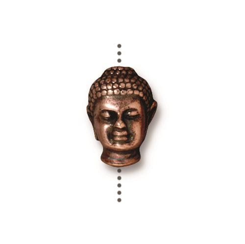 Buddha Head Bead Large Hole - Qty 5 Beads - TierraCast Copper Plated Lead Free Pewter