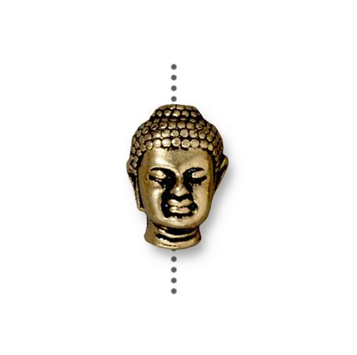 Buddha Head Bead Large Hole - Qty 5 Beads - TierraCast 22kt Gold Plated Lead Free Pewter