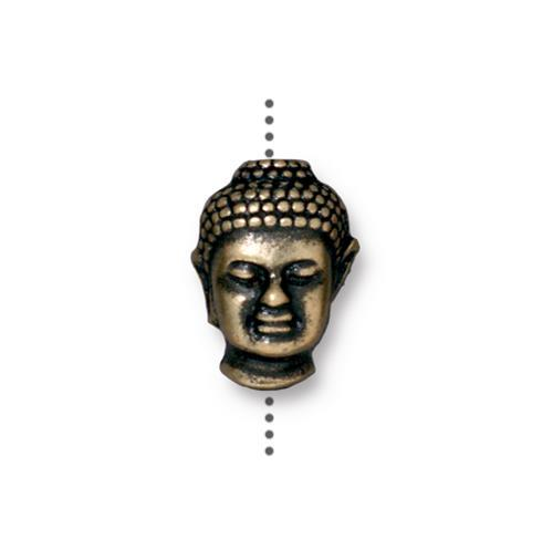 Buddha Head Bead Large Hole - Qty 5 Beads - TierraCast Brass Ox Plated Lead Free Pewter