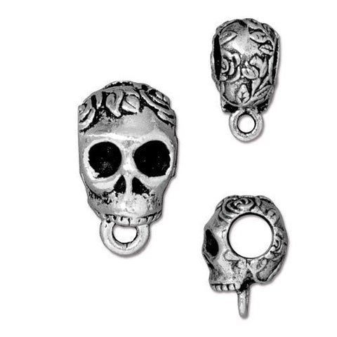Rose Skull Large Bail - Qty 5 - TierraCast Silver Plated Lead Free Pewter