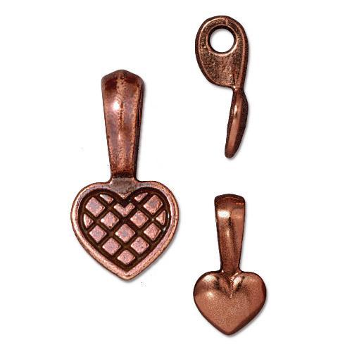 Heart Glue On Bail - Qty 5 Bails - TierraCast Copper Plated Lead Free Pewter