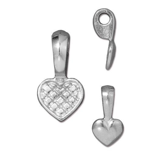 Heart Glue On Bail - Qty 5 Bails - TierraCast Rhodium Plated Lead Free Pewter