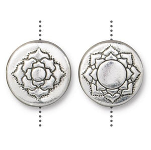 Lotus Flower 14mm Puffed Bead - Qty 4 Beads - TierraCast Silver Plated Lead Free Pewter