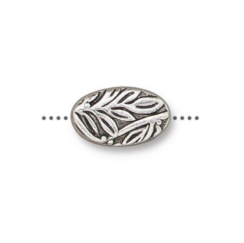 Botanical Leaves Bead - Qty 5 - TierraCast Silver Plated LEAD FREE pewter