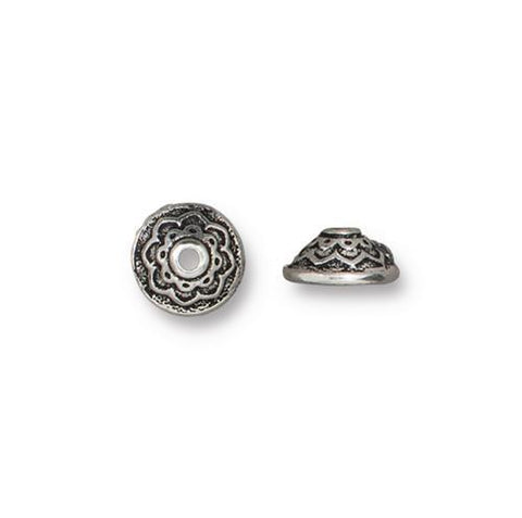 Lotus 7mm Bead Cap - Qty 6 - TierraCast Silver Plated Lead Free Pewter