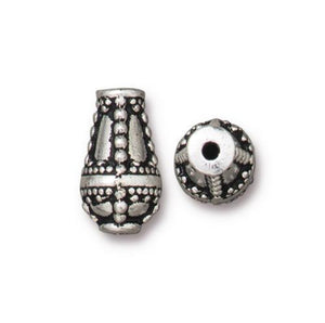 Opulence Teardrop Bead - Qty 5 - TierraCast Silver Plated Lead Free Pewter