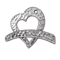 Hammertone Heart Toggle Clasp - Qty 1 Clasp - TierraCast Rhodium Silver Plated Lead Free Pewter