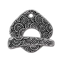 Large Spiral Toggle Clasp - Qty 1 - TierraCast Silver Plated LEAD FREE Pewter