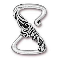Floral Z Hook Clasp - Qty 1 Clasp - TierraCast Silver Plated Lead Free Pewter DC