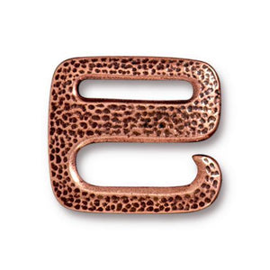 Distressed Hammered  E Hook 3/4 Inch Buckle Clasp - Qty 1 Clasp - TierraCast Copper Plated LEAD FREE Pewter D/C
