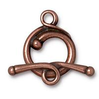 Renaissance Toggle Clasp - Qty 1 Clasp - TierraCast Copper Plated LEAD FREE Pewter