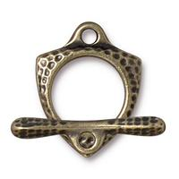 Forged Triangle Hammertone Toggle Clasp - Qty 1 Clasp - TierraCast Brass Ox Plated LEAD FREE Pewter