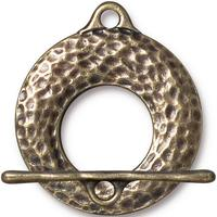Extra Large Artisan Hammertone Toggle Clasp - Qty 1 Clasp - TierraCast Brass Ox Plated LEAD FREE Pewter