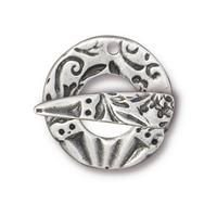 Flora Textured Toggle Clasp - Qty 1 - TierraCast Antiqued Plated Lead Free Pewter Silver