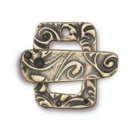 Jardin Rectangle Textured Toggle Clasp - Qty 1 - TierraCast Brass Ox Plated Lead Free Pewter
