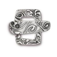 Jardin Rectangle Textured Toggle Clasp - Qty 1 - TierraCast Antiqued Plated Lead Free Pewter Silver