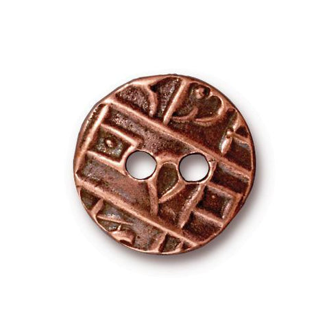 Round Coin Flat Buttons - Qty 3 Buttons - TierraCast Copper Plated LEAD FREE Pewter