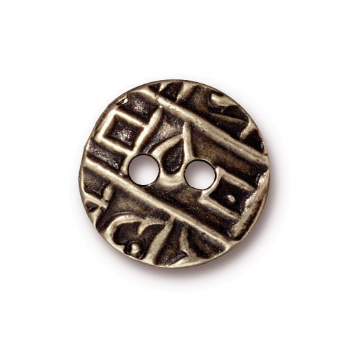 Round Coin Flat Buttons - Qty 3 Buttons - TierraCast Brass Ox Plated LEAD FREE Pewter