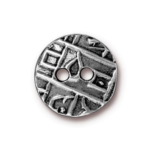 Round Coin Flat Buttons - Qty 3 Buttons - TierraCast Antique Plated LEAD FREE Pewter Silver