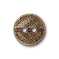 Round Leaf Flat Buttons - Qty 3 Buttons - TierraCast Brass Ox Plated LEAD FREE Pewter