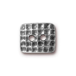 Hammertone Rectangle Button - Qty 3 Buttons - TierraCast Antiqued Plated LEAD FREE Pewter