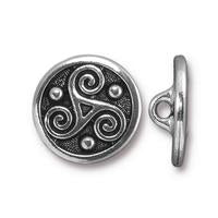 Triskele Celtic Button - Qty 3 - TierraCast Silver Plated LEAD FREE Pewter