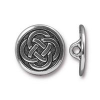 Celtic Knot Button - Qty 3 - TierraCast Silver Plated LEAD FREE Pewter