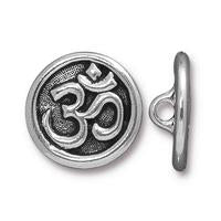 Large Om Symbol Button - Qty 3 Buttons - TierraCast Silver Plated Lead Free Pewter