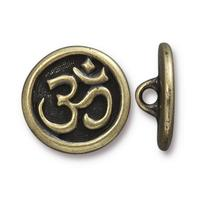 Large Om Symbol Button - Qty 3 Buttons - TierraCast Brass Ox Plated Lead Free Pewter