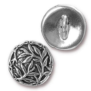 Bamboo Shank Buttons - Qty 3 Buttons - TierraCast Silver Plated LEAD FREE Pewter