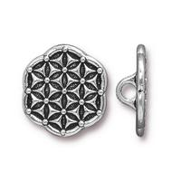 Flower of Life Buttons - Qty 3 Buttons - TierraCast Silver Plated LEAD FREE Pewter