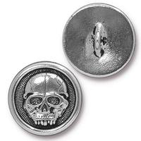 Scary Skull Buttons - Qty 3 Buttons - TierraCast Silver Plated LEAD FREE Pewter