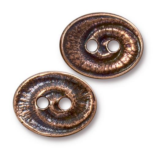 Oval Swirl Button - Qty 3 Buttons - TierraCast Copper Plated LEAD FREE Pewter