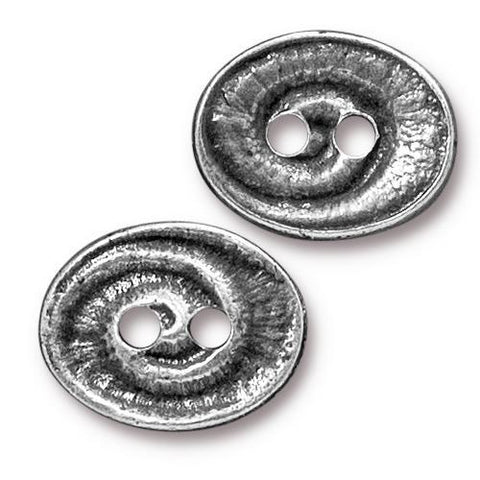 Oval Swirl Button - Qty 3 Buttons - TierraCast Antiqued Plated LEAD FREE Pewter
