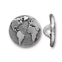 Earth Globe Button - Qty 3 Buttons - TierraCast Silver Plated Lead Free Pewter