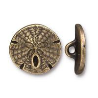 Sand Dollar Buttons - Qty 3 Buttons - TierraCast Brass Ox Plated LEAD FREE Pewter