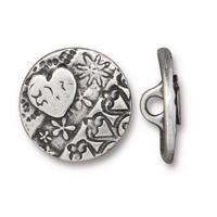 Amor Round Heart Buttons - Qty 3 Buttons - TierraCast Antiqued Plated LEAD FREE Pewter Silver