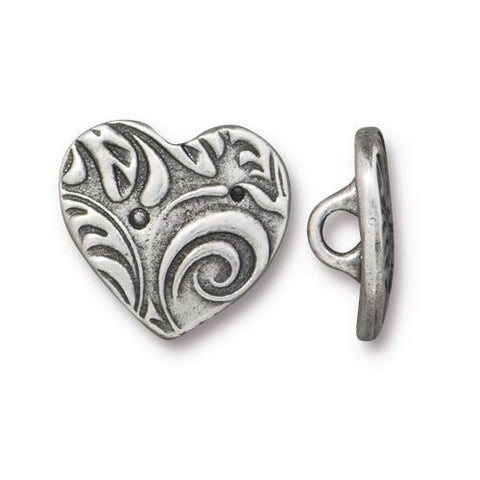 Amor Heart Shape Buttons - Qty 3 Buttons - TierraCast Antiqued Plated LEAD FREE Pewter Silver