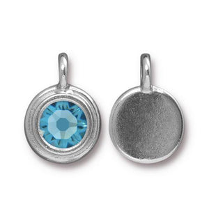 Aquamarine Swarovski Stepped Round Charms - Qty 1 - TierraCast Rhodium Silver Plated LEAD FREE Pewter