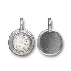 Crystal Clear Swarovski Stepped Round Charms - Qty 1 - TierraCast Rhodium Silver Plated LEAD FREE Pewter