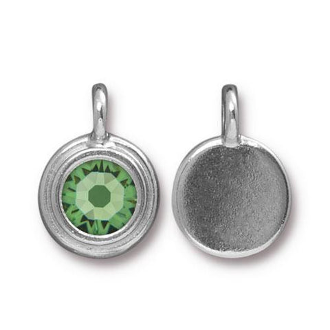 Peridot Swarovski Stepped Round Charms - Qty 1 - TierraCast Rhodium Silver Plated LEAD FREE Pewter