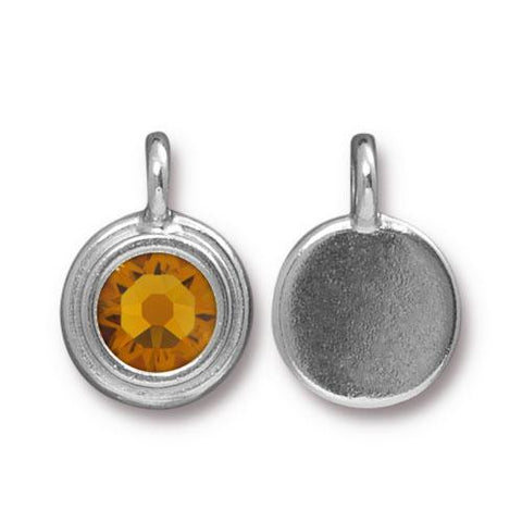 Topaz Swarovski Stepped Round Charms - Qty 1 - TierraCast Rhodium Silver Plated LEAD FREE Pewter