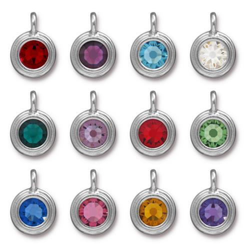 Light Amethyst Swarovski Stepped Round Charms - Qty 1 - TierraCast Rhodium Silver Plated LEAD FREE Pewter