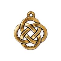 Open Celtic Round Pendant Charm - Qty 5 Charms - TierraCast Lead Free 22kt Gold  Plated Pewter