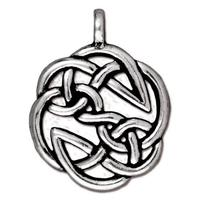 Large Open Celtic Round Pendant Charm - Qty 2 Charms - TierraCast Lead Free Silver Plated Pewter